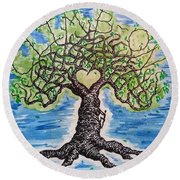 Round Beach Towel featuring the drawing Climb-on Love Tree by Aaron Bombalicki
