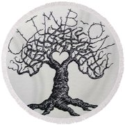 Round Beach Towel featuring the drawing Climb-on Love Tree- Blk/wht by Aaron Bombalicki