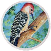 Round Beach Towel featuring the painting Climbing by AnnaJo Vahle