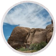 Climbing To The Top  Round Beach Towel