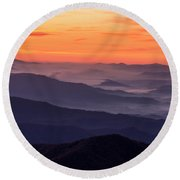 Clingmans Dome Fall Sunrise Round Beach Towel