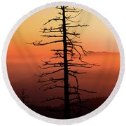 Round Beach Towel featuring the photograph Clingman's Dome Sunrise by Douglas Stucky
