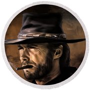 Round Beach Towel featuring the digital art Clint by Andrzej Szczerski