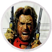Round Beach Towel featuring the mixed media Clint Eastwood As Josey Wales by David Dehner