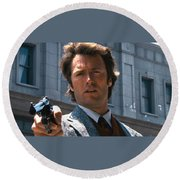 Clint Eastwood With 44 Magnum Dirty Harry 1971 Round Beach Towel