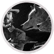Clint Eastwood With Wolves Round Beach Towel