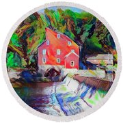 Clinton New Jersey -the Red Mill  On The Raritan River  Watercol Round Beach Towel by Bill Cannon