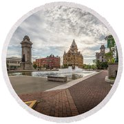Round Beach Towel featuring the photograph Clinton Square by Everet Regal