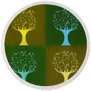 Round Beach Towel featuring the mixed media Clip Art Trees by Dan Sproul