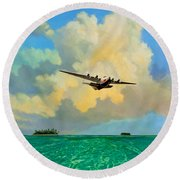 Round Beach Towel featuring the painting Clipper Over The Islands by David  Van Hulst