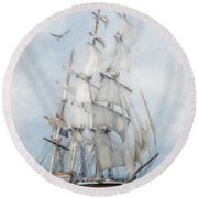 Round Beach Towel featuring the painting Clipper Ship In Sail by Chris Armytage