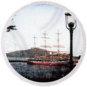 Clipper Ship Round Beach Towel