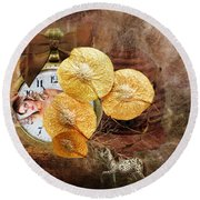 Clock Girl Round Beach Towel