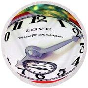Clock In The Garden Painting 2 Round Beach Towel