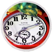 Clock In The Garden Painting 3 Round Beach Towel