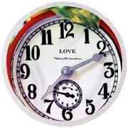 Clock In The Garden  4 Round Beach Towel