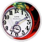 Clock In The Garden Painting  Round Beach Towel