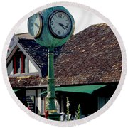 Clock Of Solvang Round Beach Towel