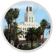 Clock Tower Building, Santa Monica Round Beach Towel
