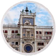 Clock Tower In St Mark's Square Venice Italy Round Beach Towel