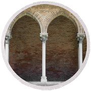 Cloister With Arched Colonnade Round Beach Towel