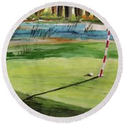 Close At The Eleventh Hole Round Beach Towel
