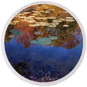 Close By The Lily Pond  Round Beach Towel