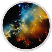 Close-the-pelican-nebula-ionization-front Round Beach Towel