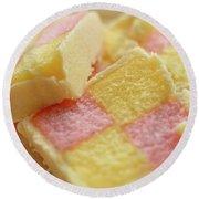 Close Up Of Battenberg Cake E Round Beach Towel