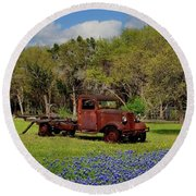 Close Up Of Rusty Pickup Round Beach Towel by Janette Boyd