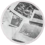 Close Up On Old Black And White Photographs Round Beach Towel