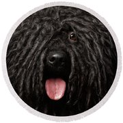 Close Up Portrait Of Puli Dog Isolated On Black Round Beach Towel