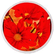 Close Up Red Gerbers Round Beach Towel by Marsha Heiken