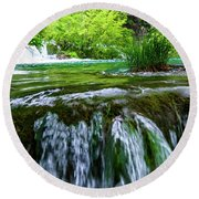 Close Up Waterfalls - Plitvice Lakes National Park, Croatia Round Beach Towel