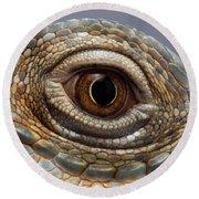Closeup Eye Of Green Iguana Round Beach Towel