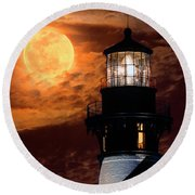 Closeup Of Full Moon Rising Over St Augustine Lighthouse Round Beach Towel