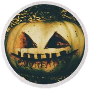 Closeup Of Halloween Pumpkin With Scary Face Round Beach Towel