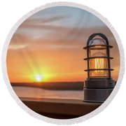 Closeup Of Light With Sunset In The Background Round Beach Towel