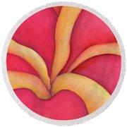 Closeup Of Red Rose Round Beach Towel by Versel Reid