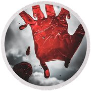 Closeup Of Scary Bloody Hand Print On Glass Round Beach Towel