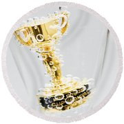 Closeup Of Small Trophy In Champagne Flute. Gold Colored Award I Round Beach Towel