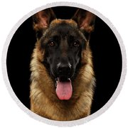Closeup Portrait Of German Shepherd On Black  Round Beach Towel