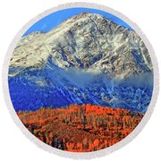 Round Beach Towel featuring the photograph Closing In On Fall by Scott Mahon