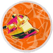 Round Beach Towel featuring the digital art Flat Iron  by Jean luc Comperat