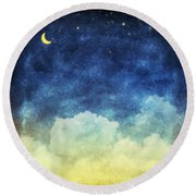 Cloud And Sky At Night Round Beach Towel