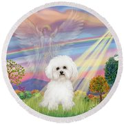 Cloud Angel And Bichon Frise Round Beach Towel