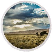 Cloud Break Over Sand Dunes Round Beach Towel