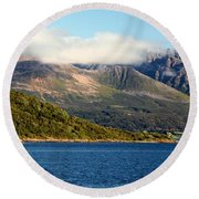 Cloud-capped Mountains Round Beach Towel