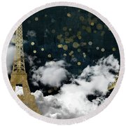 Cloud Cities Paris Round Beach Towel by Mindy Sommers