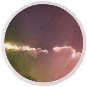 Cloud Eruption Round Beach Towel by Stefanie Silva